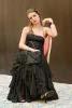bustier en toile jacquard et mousseline de soie et jupe longue noire