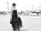 robe de soirée noire bustier mousseline et dentelle