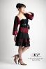 Jupe courte rouge et noire volante mousseline et boléro en dentelle