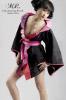 Kimono en doupion de soie noire
