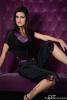 pantacourt noir pour femme avec top en dentelle, organza et satin